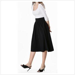 ESHAKTI Elastic Waist Cotton Black Skirt - Smocked